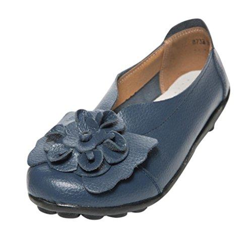 Lazzboy Damen Herbst Schuhe Freizeit Lady Flach Sandalen Leder Knöchel Slipper Soft Schuhe (Blau,41)