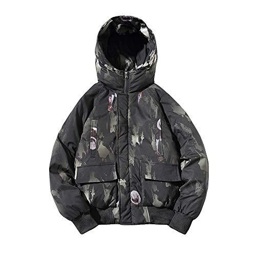 IMJONO Männer Camouflage Winter lang mit Kapuze Ärmeltasche verdicken Mantel PulloverTop Bluse (XX-Large,Grün)