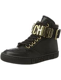Moschino Unisex-Kinder 26032 Vitello Nero Lettere Oro Hohe Sneaker