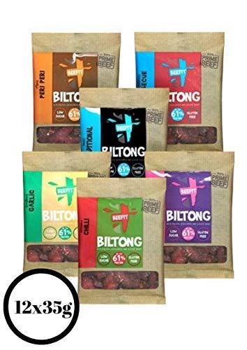 12x35g Tüten von Biltong-2 mal von unseren 6 verschiedene Sorten dem preisgekrönten Biltong Company. Habanero Chilli, Peppered Steak, Peri Peri, Knoblauch, Teriyaki & BBQ. Wie Beef Jerky-nur besser!