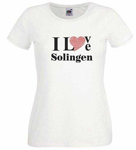T-Shirt I Love Solingen mit einer Strassaplikation / Strassherz Weiß