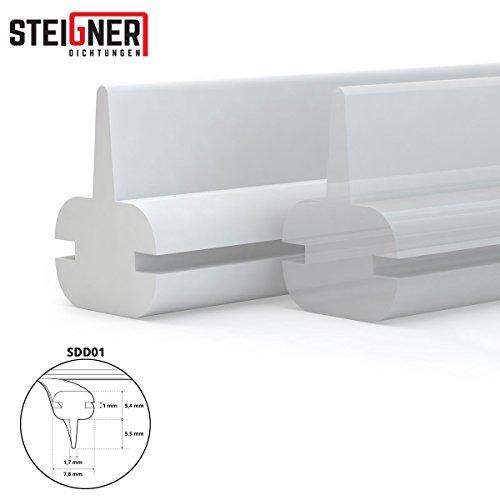 Duschdichtung Duschkabinen Dichtung 250cm SDD01 WEISS -- Silikon Wasserabweiser Silikondichtung Dusche Dichtprofil Duschabtrennung Schwallschutz Glastürdichtung Duschkabine Glasduschen