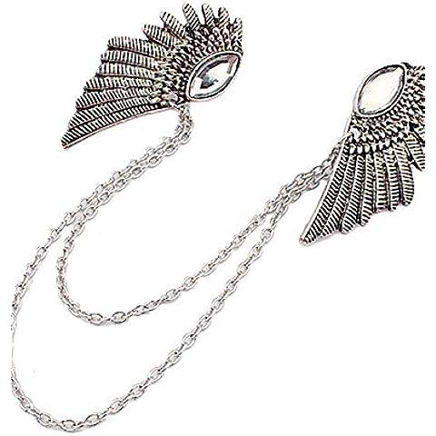 nuovi gotiche punk angelo ali vestiti d'argento clip collare bronzo spilla catena pin gioielli spille per il regalo