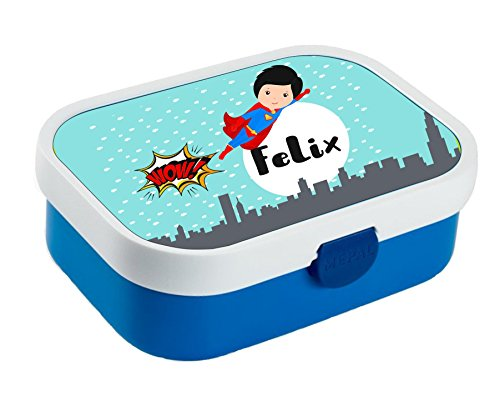 wolga-kreativ Brotdose Lunchbox Kinder Held Junge mit Namen Mepal Lunchbox für Kinder personalisiert