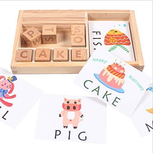 Holidaysummer Holzbuchstaben-Spiel mit englischem Buchstabenspiel, früheres Lernen, Lernspielzeug für Kinder