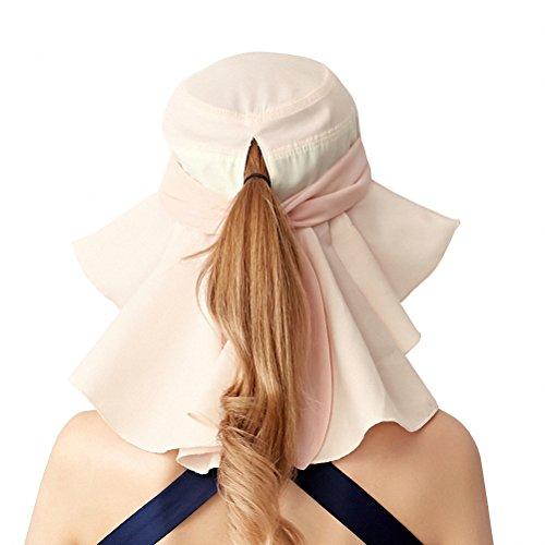 Maitose® Sun Protection de la Pêche de la femme Visage Cou Flap Hat Rose