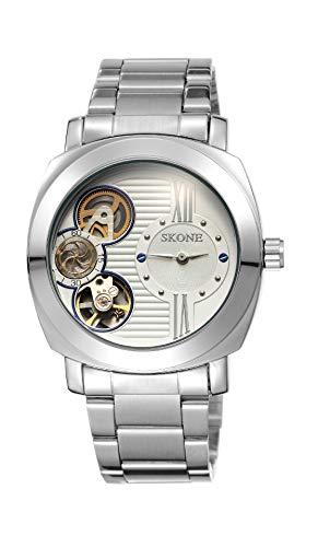 FENKOO Schöne Armbanduhren SKONE/Uhr Herren Hohle halbautomatische mechanische Uhr mit Uhr männlich (Color : 1)