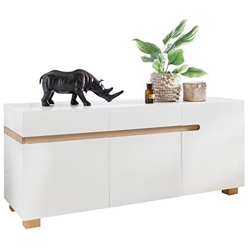 Wohnling Sideboard Scandi 160 x 50 x 70 cm MDF-Holz skandinavisch weiß matt Kommode | Design Anrichte mit 3 Türen ohne Griffe | Moderne Mehrzweckkommode