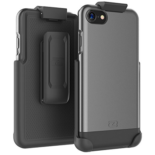 iPhone 7 Belt Case (2pc set) Includes: Click-N-Go Holster Clip w/ Hybrid Cover (Metallic Gray) Metallic Gray
