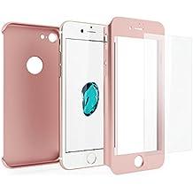 3en 1Híbrido 360grado delantera y trasera a prueba de golpes carcasa con [de oro rosa] de pantalla de cristal templado para Apple Iphone 6/6S 77Plus, oro rosa, iPhone 6/6s Plus