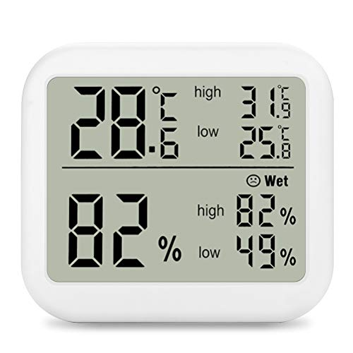 Indoor Digital Thermometer Hygrometer, Accurate Room Temperature Gauge Humidity Monitor with Alarm Clock - Easy to Read, Max/Min Records, LCD Display for Home Office Indoor-records