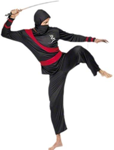 Zauberclown - Herren Ninja Kostüm, Karneval, Fasching, L, Schwarz