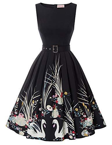 Belle Poque 50s Vintage Retro Winter Kleid ärmellos festlich Kleid Partykleider cocktailkleider Knielang 2XL BP897-1 (Belle-kleid Für Frauen)