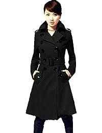 FINEJO Women's Slim Double Breasted Coat Woolen Jacket Winter Long Coat Outerwear