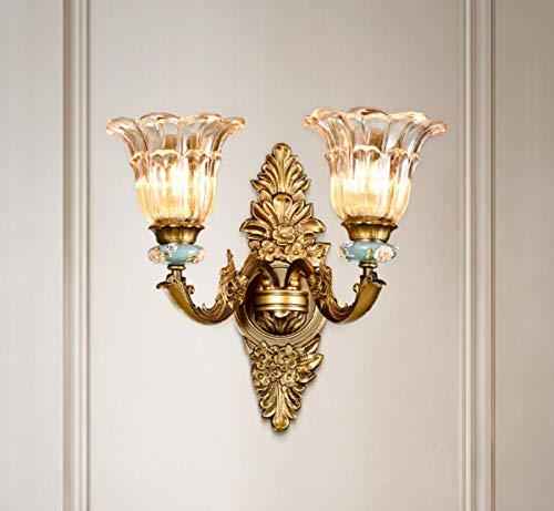 Gdlight applique da parete europeo vintage in lega di zinco lampada da parete da comodino coperta antica paralume in vetro floreale riparo per corridoio camera da letto soggiorno corridoio,2arms