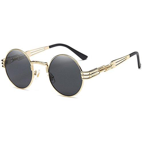 Hibote UV400 Unisex Sonnenbrille - Steampunk Goggles Vintage Retro Round Shades Metallrahmen Brille
