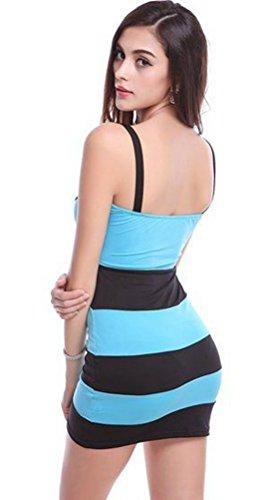 Blansdi manche sexy Stripe Clubwear Mini Slim Fit Soir¨¦e Robe de cocktail Bleu