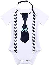 IEFIEL Combinaison Bébé Garçon Fille Blanc Barboteuse Body + Cravate Bébés  Ensemble Vêtement de Baptême Anniversaire Fête 0… 7a732e51cf5