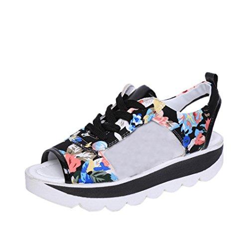 BBestseller Sandalias planas ocasionales de las mujeres , Tacones abiertos zapatos de playa plataforma chanclas de señoras de Bohemia Zapatos de playa Calzado zapatillas zapatillas de casa cómodos sandalias salvajes de la manera ligera(EU35-39) (39, negro)