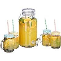 Relaxdays Dispensador de Bebida de 4 L, Cuatro Vasos, Grifo, Retro, Jarra de Zumo con pajitas, Transparente, 22.00 x 38.00 x 48.00 cm