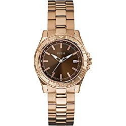 GUESS Women's W0469L1 Quartz Watch with Brown Dial Analogue Display and Rose Gold Stainless Steel Bracelet