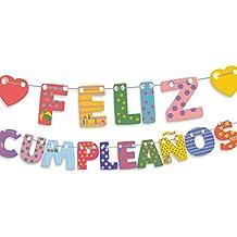 Guirnalda letras feliz cumpleaños corazones