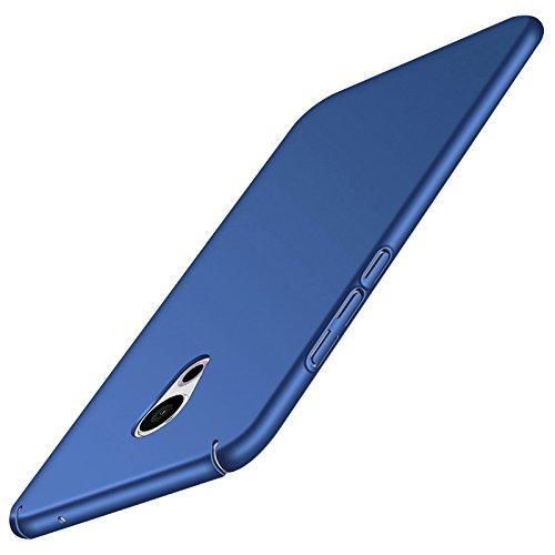 Tmusik Meizu Pro 6 Plus Hülle + Panzerglas Displayschutzfolie, [Ultra Dünn] [Leicht] Anti-Kratzer Schutzhülle, Anti-Fingerabdruck Hart Plastisch Rückdeckel Cover Case - Blau