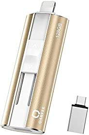 QARFEE Memoria USB 128GB para iPhone Pendrive 4 en 1 USB 3.0 para iPhone Compatible con Android Tipo C iPad Sm