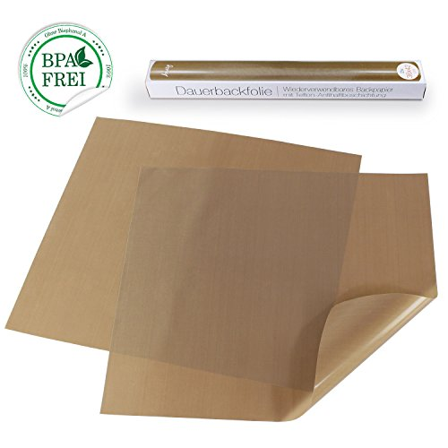 Amazy Dauerbackfolie (2 Stück) – Das Premium Backpapier – wiederverwendbar, antihaftbeschichtet und spülmaschinenfest (2er Pack – 36 x 42 cm)