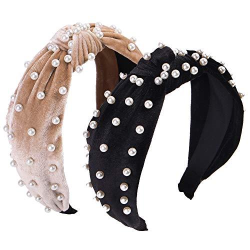QincLing - Cerchietto per Capelli con Perle in Velluto, Fascia Elastica con Perle Larghe e Perle, Stile Vintage, per Donne e Ragazze