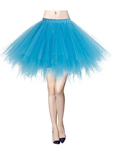 Tüllrock Reifrock 50er Rockabilly Kurz Ballet Tanz Rock Blue XL (Blue M Und M Kostüme)