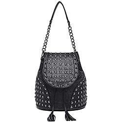 Miss Lulu Mujer estilo mochila en cuero de imitación (negro)