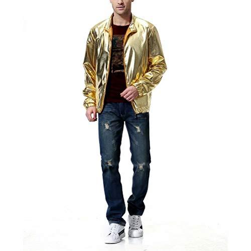 AOWOFS Herren Jacke Regular Fit Metallic Glänzend Blouson Kostüm für Weihnachten Nightclub Party Tanzen Disco Cosplay Gold Large (Kostüm Disco Herren)