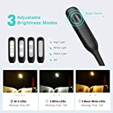 Topelek 4 LED Book Light 3 Brightness Modes Clip Light On Book USB Rechargeable Lamp, Flexible Eye-Care and Portable Music Stand Light for Night Reading in Bed [Energy Class A+], Black