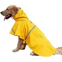 Kismaple Mascota Perro Impermeables Chubasqueros para pequeña Medianas Grandes Perros,Impermeable Chanqueta con Capucha -Lluvia Impermeable (Amarillo, L(Chest:64-72cm;Neck:39-44cm))