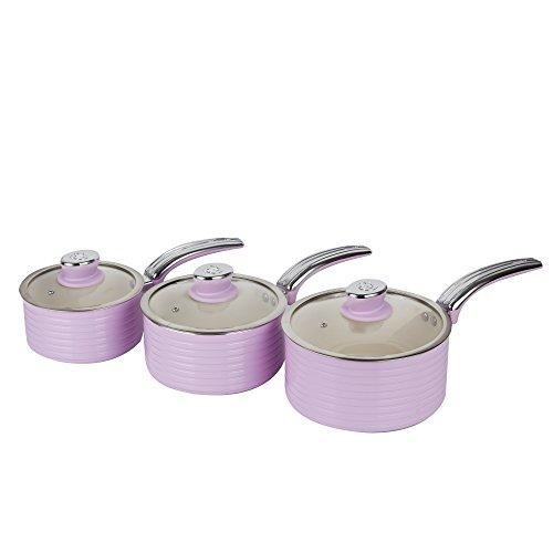 Swan Retro Saucepan Set Easy Clean Non-Stick Ceramic Coating, Aluminium, Pink, 3 Piece