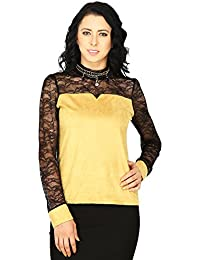 SVT ADA COLLECTIONS Suede Mustard Color with NET Sleeves & Yoke Elegant PARTWEAR TOP (022421_Mustard_Medium)