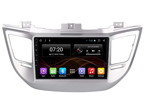 2.5D IPS Android 8.1 Octa Core Car DVD Radio GPS Navigation for Hyundai IX35 Tucson 2015-2017 Stereo Audio Navi Video with Bluetooth Calling WiFi Touch Screen(Android 8.1 2/32G for IX35 Tucson 15-17)