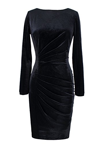 VfEmage Womens Vintage Velvet Ruched Work Party Cocktail Pencil Sheath Dress 8436 Blk S