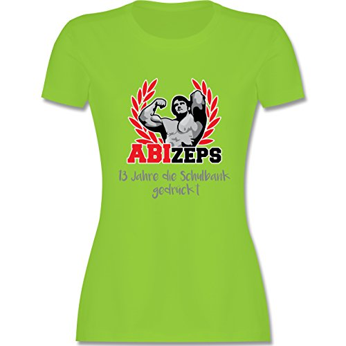 Abi Abschluss ABIzeps 13 Jahre die Schulbank gedrückt tailliertes Premium  TShirt mit Rundhalsausschnitt für Damen Hellgrün
