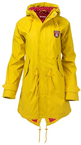 "Derbe Damen Jacke ""Travel Friese Anchor\"" Regenjacke yellow red (gelb rot) (38)"