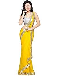 Tryme Fashion Women Georgette Saree(Yellow_Girls Fancy Saree 2_Free Size)