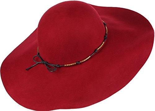 Sakkas 16154 - Liuliu larga Vintage Style Cappello floscio estraibile intercambiabile Bow Ribbon - Borgogna - OS
