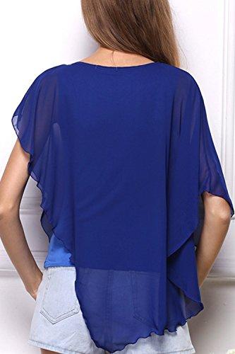 Damen t-Shirt mit 3/4 Ärmel unregelmäßige Falbala Chiffon Tops Blue
