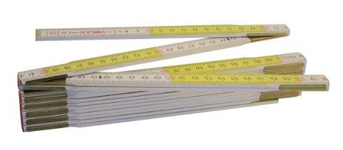 Metrica 23169 Holzgliedermassstab 3 m Duplex-Teilung, weiß/gelb