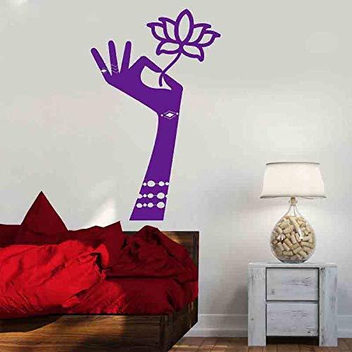 zqyjhkou Fiore in Mani Adesivo Induismo Mehndi Fiore di Loto Sala da Meditazione Adesivi in   Vinile Bohemien Decor Art Murale Casa 6 57x93cm