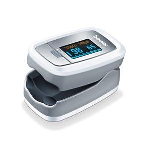 Beurer PO 30 Pulsoximeter (Grau / Weiß, Ermittlung der Herzfrequenz und arteriellen Sauerstoffsättigung)