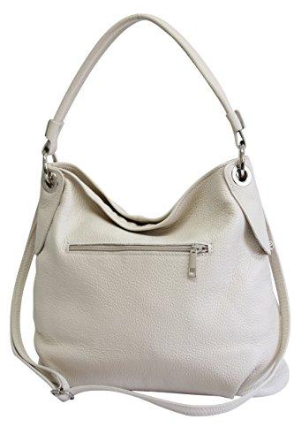 AMBRA Moda Damen echt Ledertasche Handtasche Schultertasche Beutel Shopper Umhängtasche GL012 (Beige Creme) -
