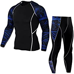 Men's Autumn Winter Tracksuit Amlaiworld Suit Men's Sports Compression Camouflage Sports Running Yoga Athletic Pants + Thermal Compression T-Shirt Suit (Blue, M)