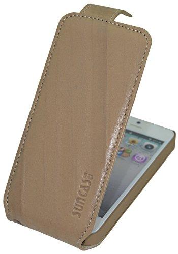 iPhone SE | iPhone 5S | Original Suncase Flip-Style Ledertasche *ECHT LEDER* Tasche in schwarz Wash Beige